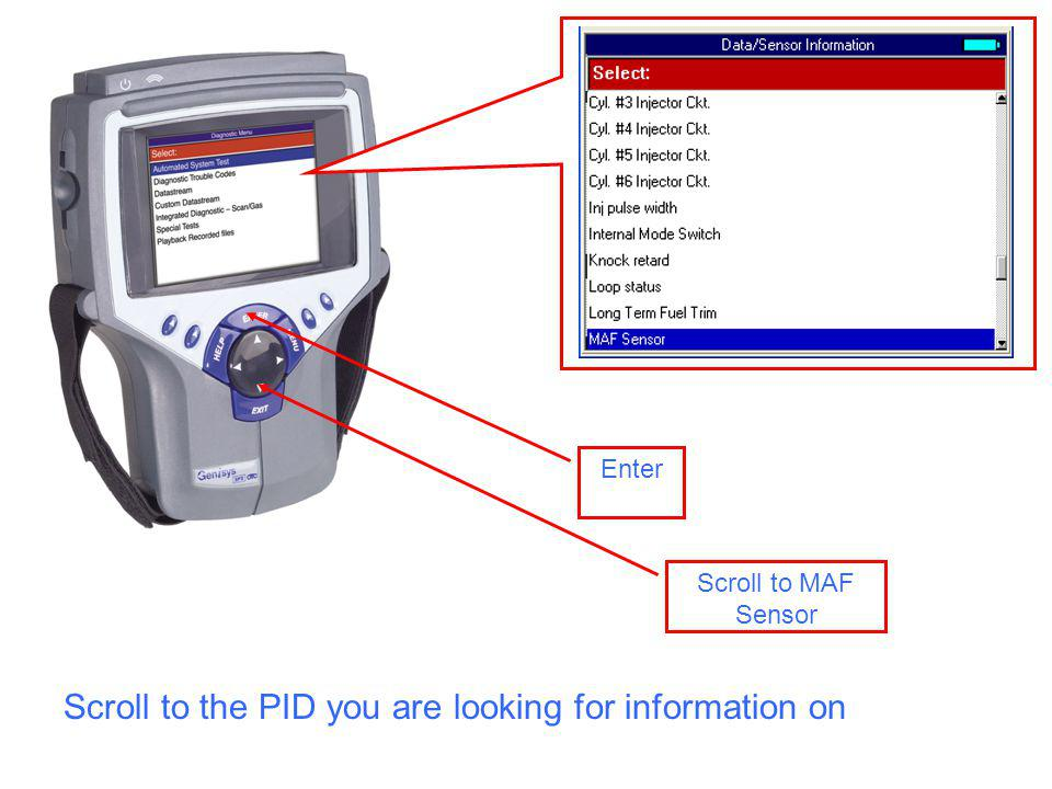 Scroll to MAF Sensor Enter Scroll to the PID you are looking for information on