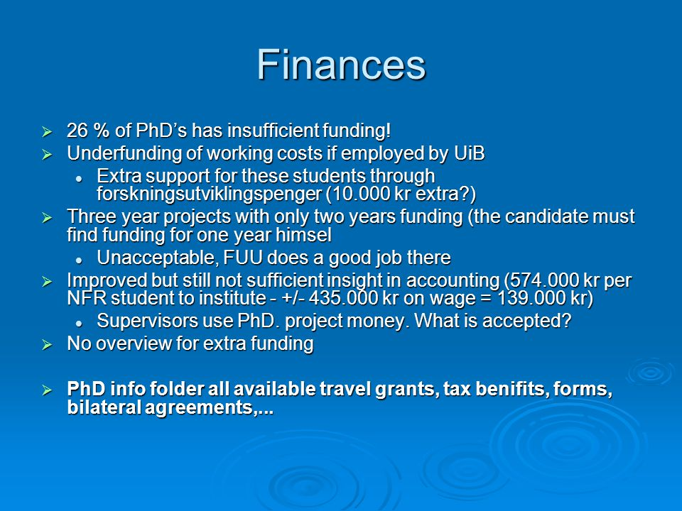 Finances 26 % of PhDs has insufficient funding. 26 % of PhDs has insufficient funding.