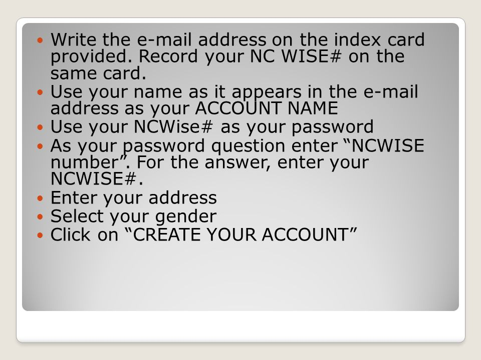 Write the e-mail address on the index card provided.