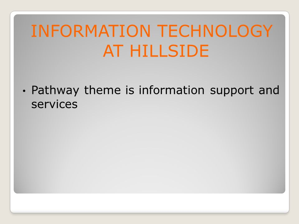INFORMATION TECHNOLOGY AT HILLSIDE Pathway theme is information support and services