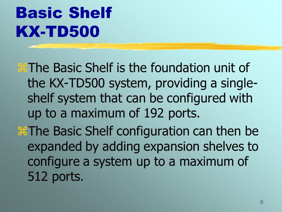 6 Basic Shelf KX-TD500 zThe Basic Shelf is the foundation unit of the KX-TD500 system, providing a single- shelf system that can be configured with up