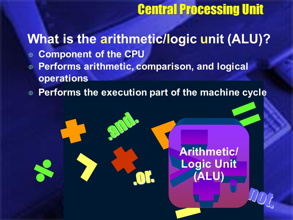 CPU Control Unit What is the arithmetic/logic unit (ALU)? Central Processing Unit.and..not..or. Component of the CPU Performs arithmetic, comparison,