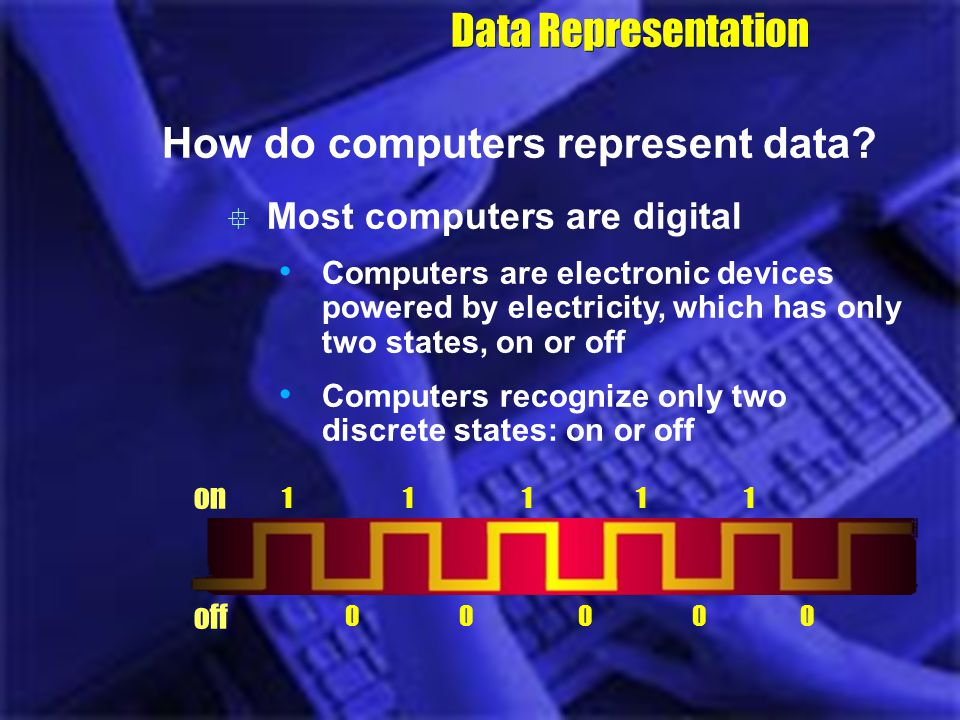 Data Representation How do computers represent data? 1111111111 0000000000 Most computers are digital Computers are electronic devices powered by elec