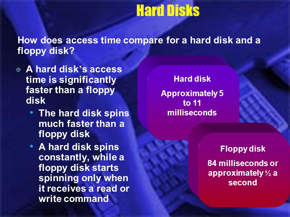 Hard Disks How does access time compare for a hard disk and a floppy disk? A hard disk s access time is significantly faster than a floppy disk The ha
