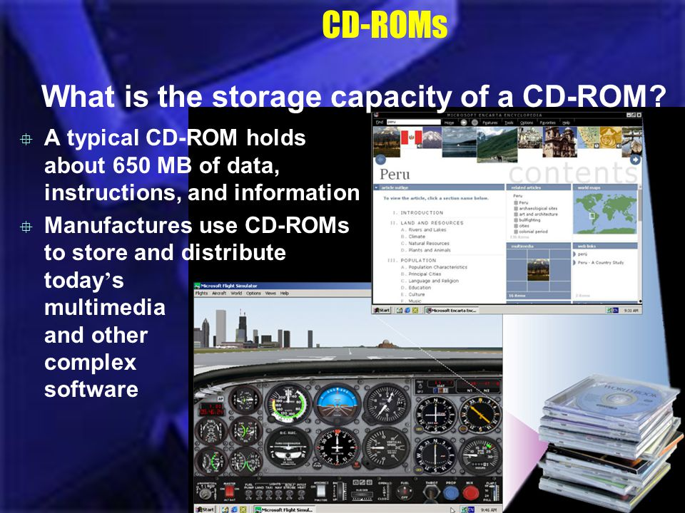 CD-ROMs What is the storage capacity of a CD-ROM? A typical CD-ROM holds about 650 MB of data, instructions, and information Manufactures use CD-ROMs