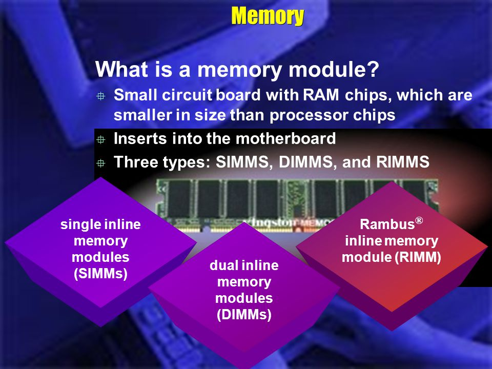 Memory What is a memory module? single inline memory modules (SIMMs) Rambus ® inline memory module (RIMM) Small circuit board with RAM chips, which ar