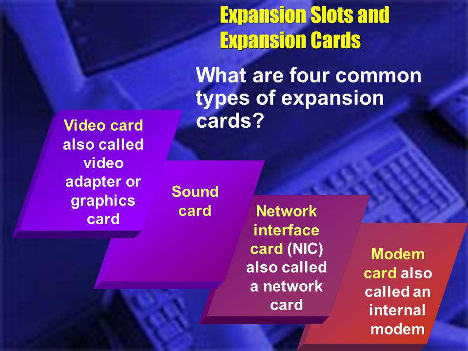 Modem card also called an internal modem Expansion Slots and Expansion Cards What are four common types of expansion cards? Network interface card (NI