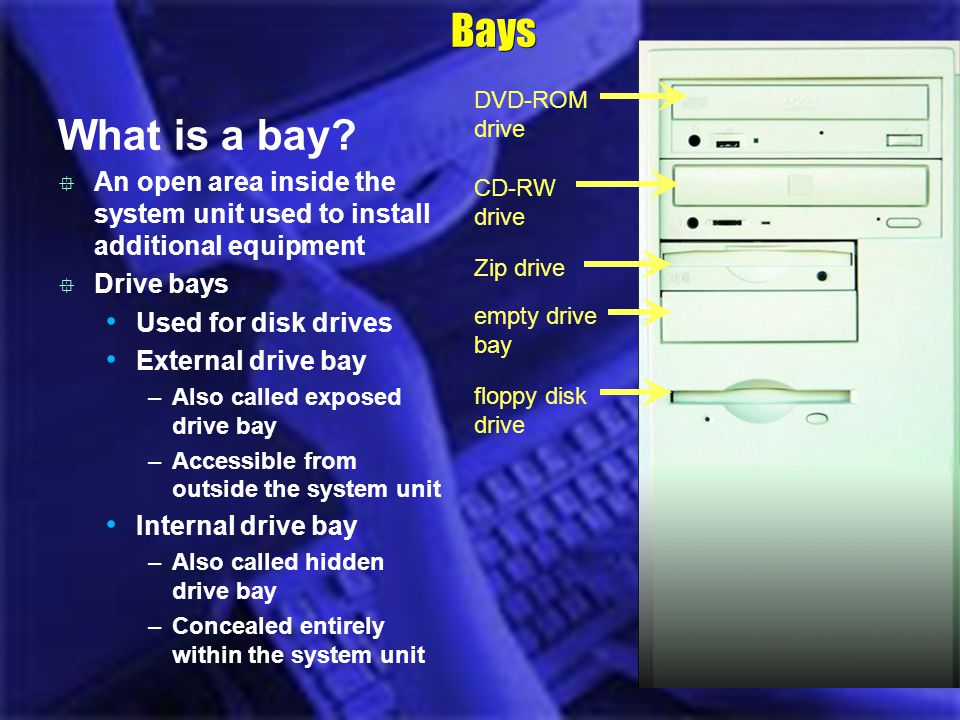 Bays What is a bay? DVD-ROM drive CD-RW drive Zip drive empty drive bay floppy disk drive An open area inside the system unit used to install addition