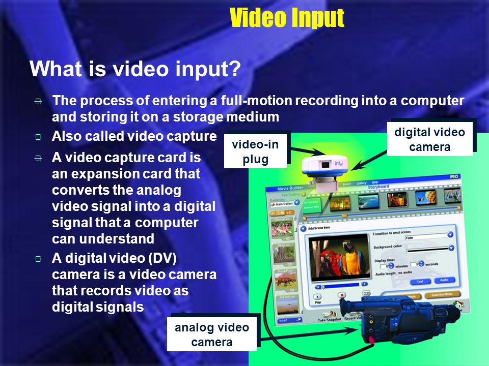 Video Input What is video input? The process of entering a full-motion recording into a computer and storing it on a storage medium Also called video