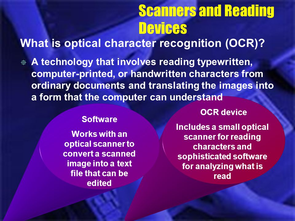 OCR device Includes a small optical scanner for reading characters and sophisticated software for analyzing what is read Software Works with an optica