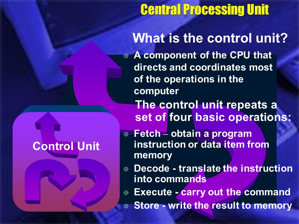 Together the four operations of the CPU comprise a machine cycle Also called an instruction cycle Execution time (e-time) – time it takes to execute and store e-time Instruction time (i-time) - time it takes to fetch and decode i-time Central Processing Unit What is a machine cycle?