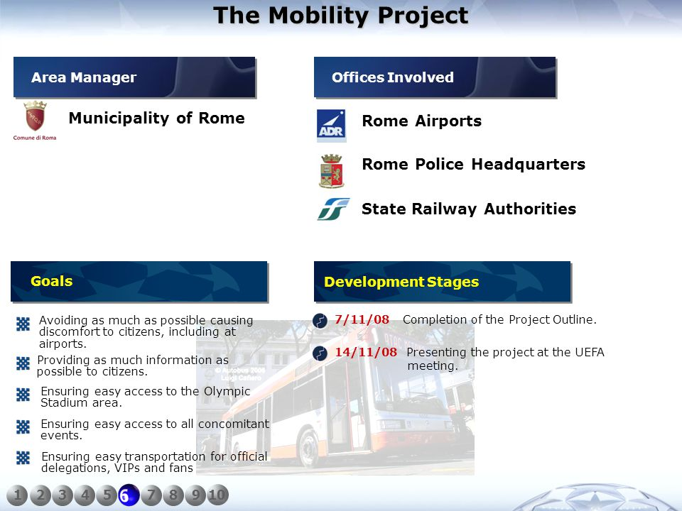 The Mobility Project Municipality of Rome Rome Airports Rome Police Headquarters 7/11/08 Completion of the Project Outline.
