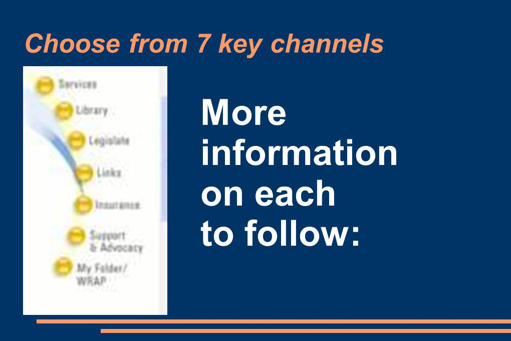Choose from 7 key channels More information on each to follow: