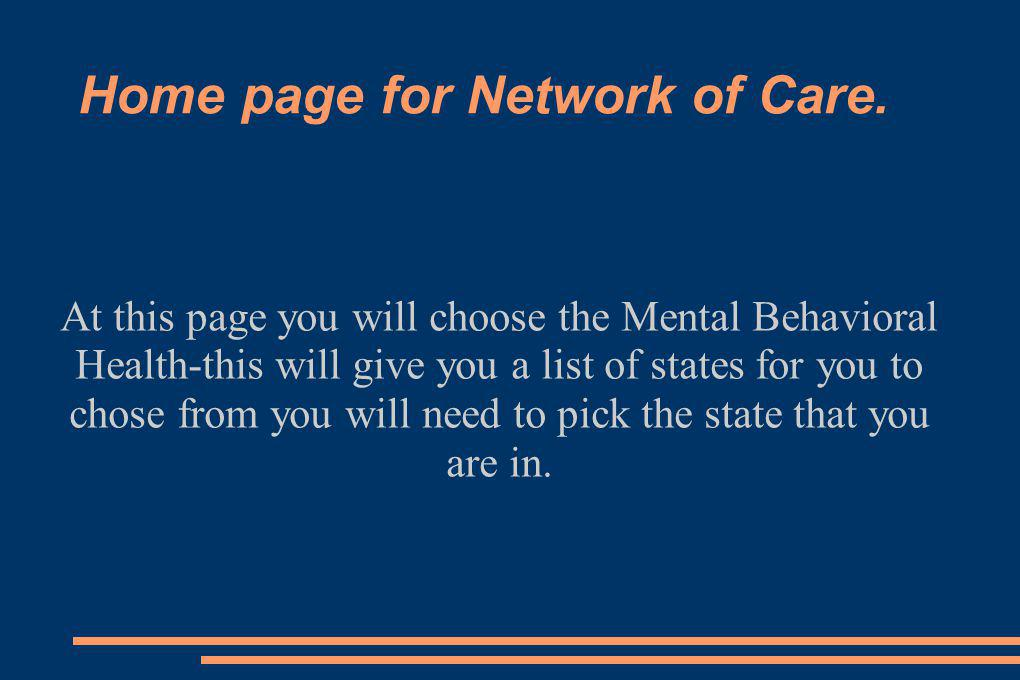 Home page for Network of Care.