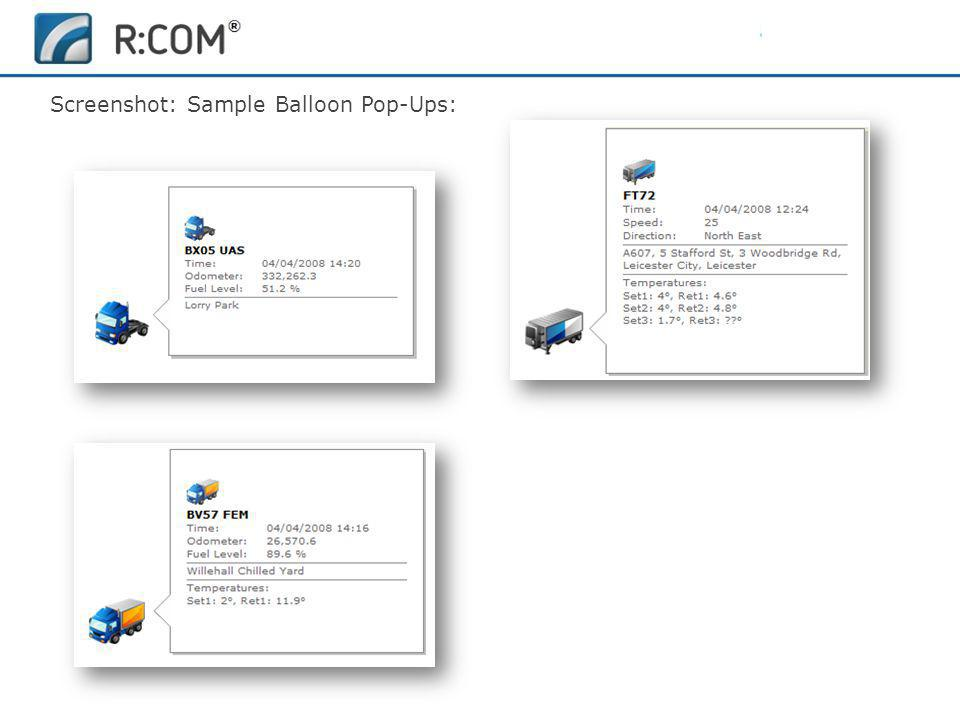 Fleet Management | R:COM ® Reports Software Screenshot: Sample Balloon Pop-Ups: