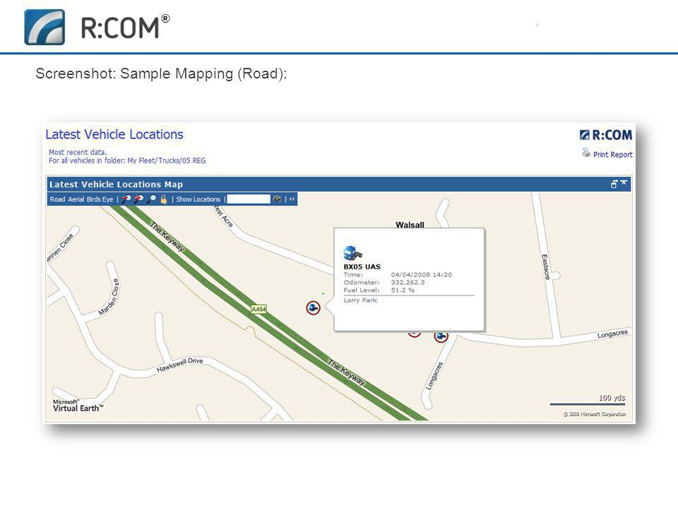Fleet Management | R:COM ® Reports Software Screenshot: Sample Mapping (Road):