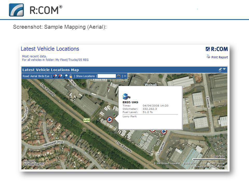 Fleet Management | R:COM ® Reports Software Screenshot: Sample Mapping (Aerial):