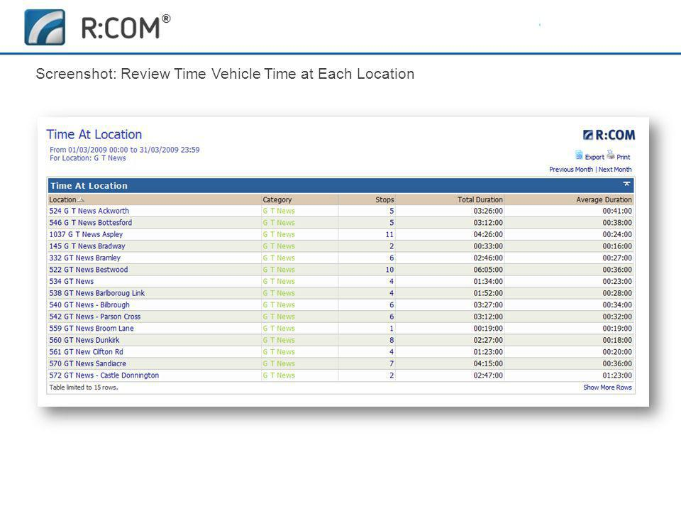 Fleet Management | R:COM ® Reports Software Screenshot: Review Time Vehicle Time at Each Location