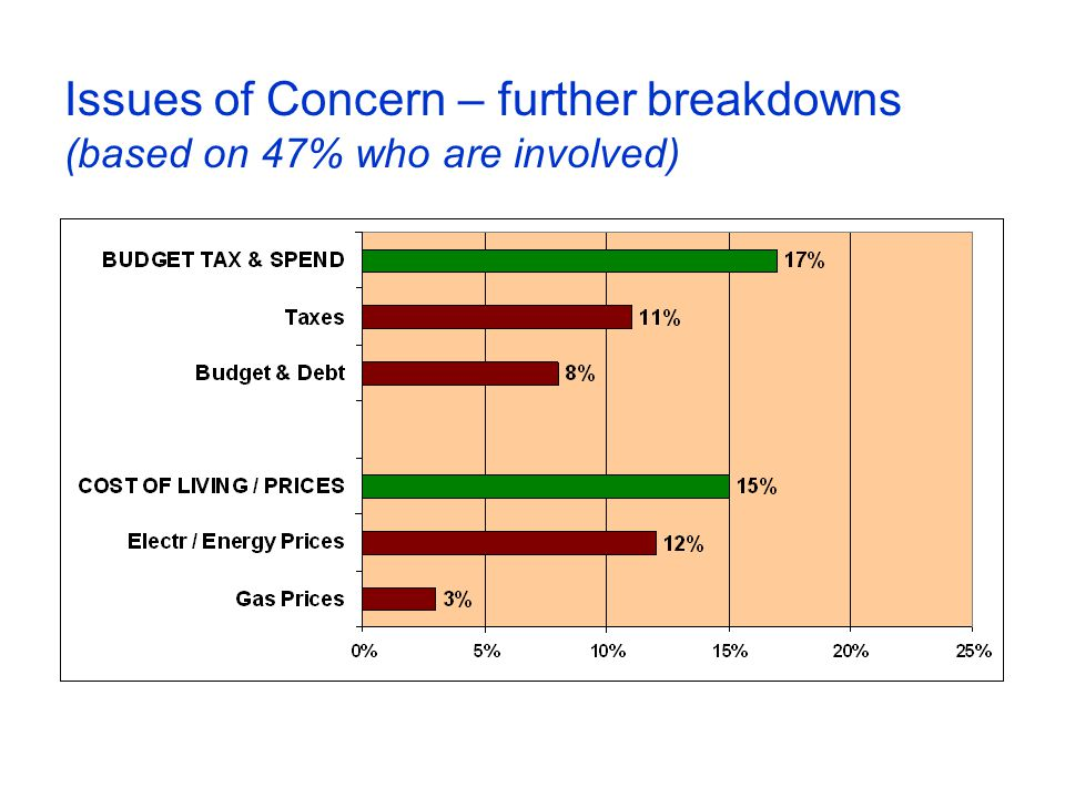 Issues of Concern – further breakdowns (based on 47% who are involved)