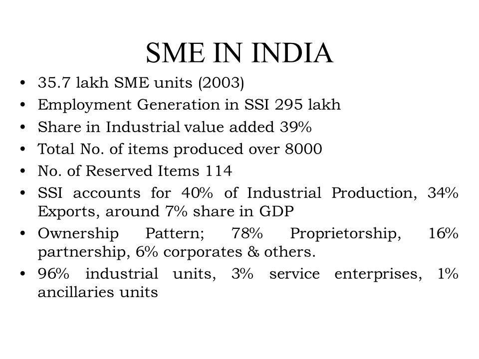SME IN INDIA 35.7 lakh SME units (2003) Employment Generation in SSI 295 lakh Share in Industrial value added 39% Total No. of items produced over 800