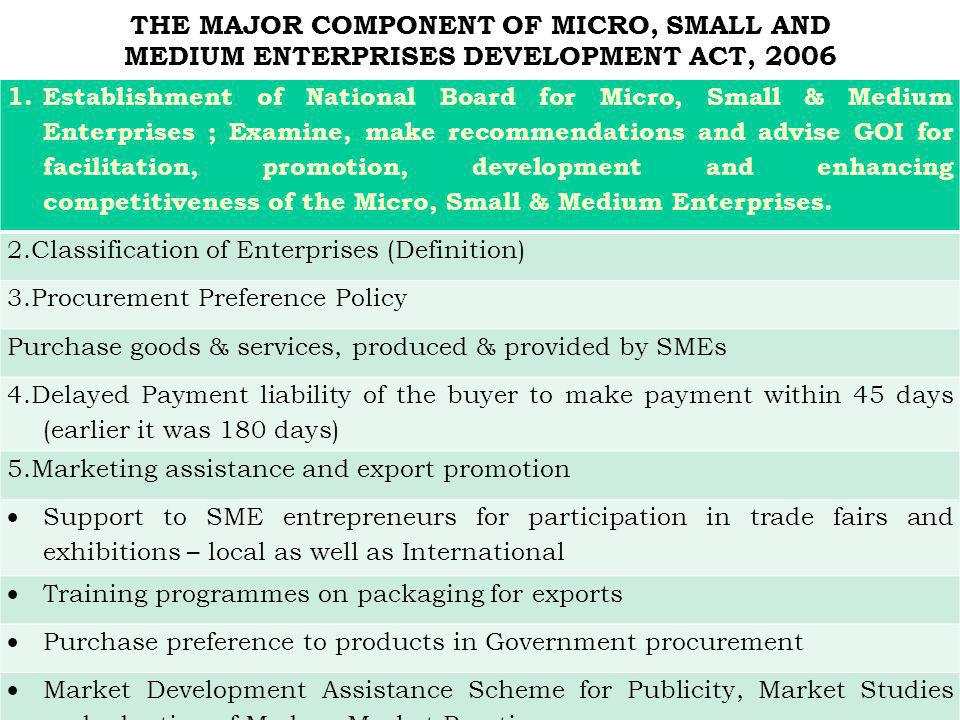 THE MAJOR COMPONENT OF MICRO, SMALL AND MEDIUM ENTERPRISES DEVELOPMENT ACT, 2006 1.Establishment of National Board for Micro, Small & Medium Enterpris