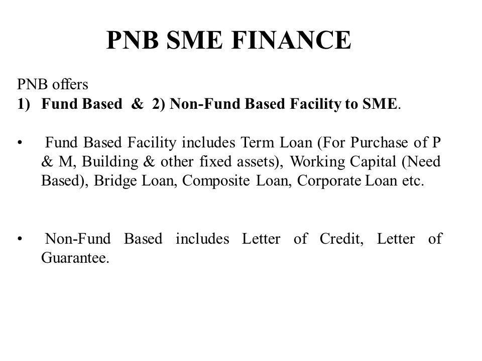 PNB SME FINANCE PNB offers 1)Fund Based & 2) Non-Fund Based Facility to SME.