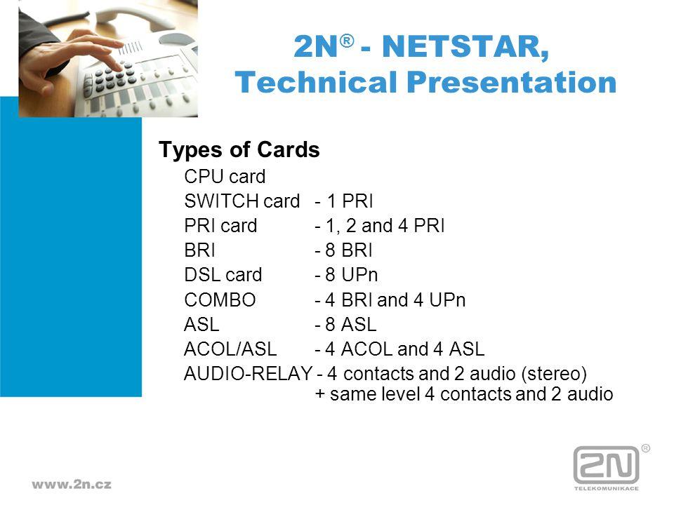 Types of Cards CPU card SWITCH card - 1 PRI PRI card - 1, 2 and 4 PRI BRI - 8 BRI DSL card - 8 UPn COMBO - 4 BRI and 4 UPn ASL - 8 ASL ACOL/ASL - 4 AC