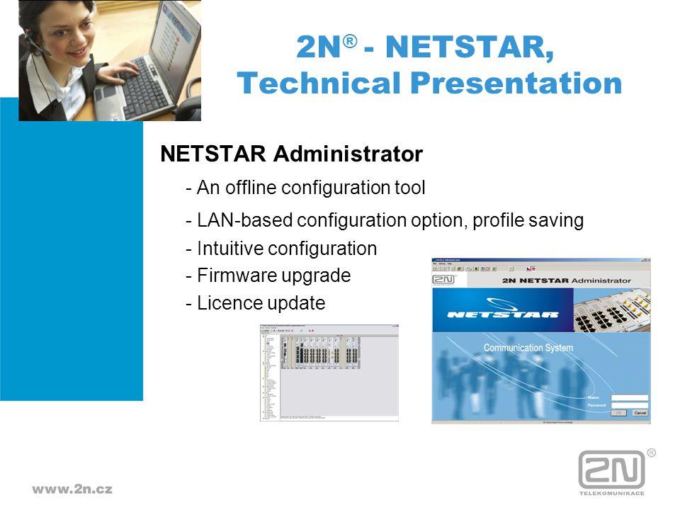 NETSTAR Administrator - An offline configuration tool - LAN-based configuration option, profile saving - Intuitive configuration - Firmware upgrade -