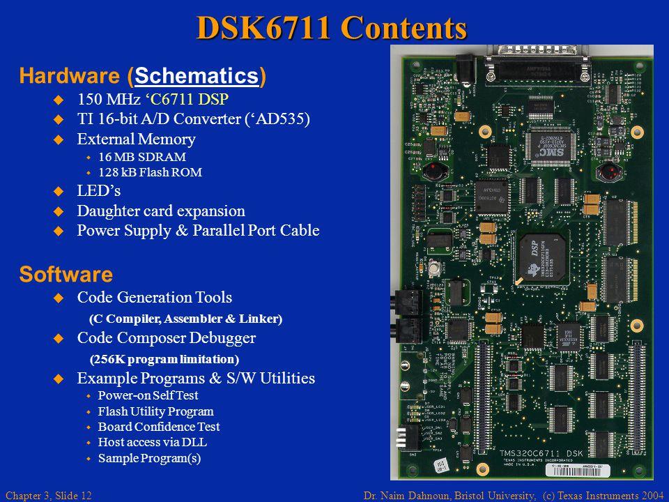Dr. Naim Dahnoun, Bristol University, (c) Texas Instruments 2004 Chapter 3, Slide 12 DSK6711 Contents Hardware (Schematics)Schematics 150 MHz C6711 DS