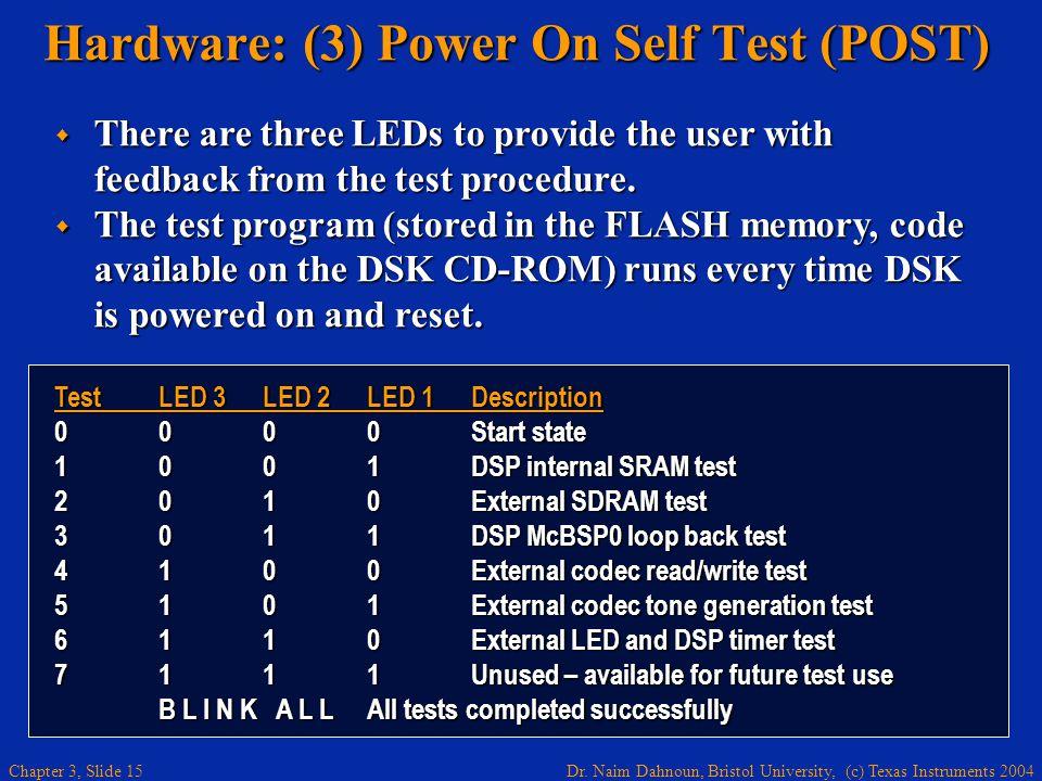 Dr. Naim Dahnoun, Bristol University, (c) Texas Instruments 2004 Chapter 3, Slide 15 Hardware: (3) Power On Self Test (POST) TestLED 3LED 2LED 1Descri