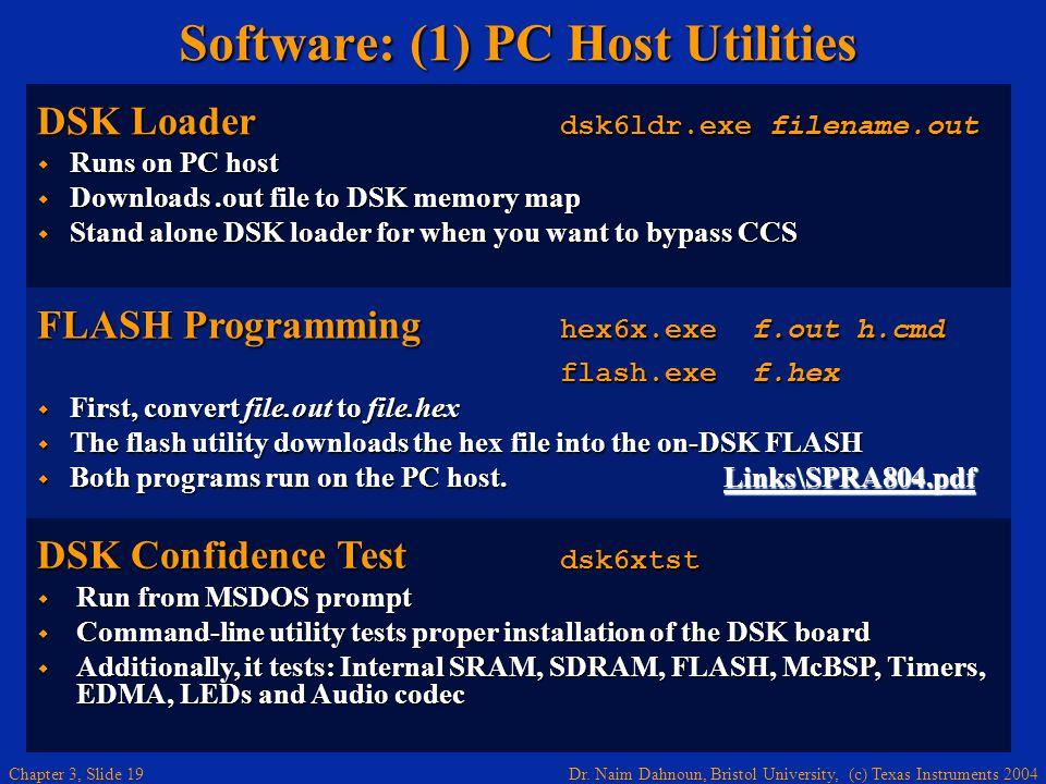 Dr. Naim Dahnoun, Bristol University, (c) Texas Instruments 2004 Chapter 3, Slide 19 Software: (1) PC Host Utilities DSK Loader dsk6ldr.exe filename.o