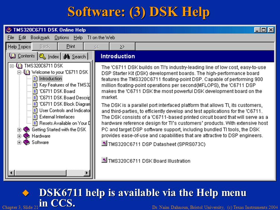 Dr. Naim Dahnoun, Bristol University, (c) Texas Instruments 2004 Chapter 3, Slide 21 Software: (3) DSK Help DSK6711 help is available via the Help men