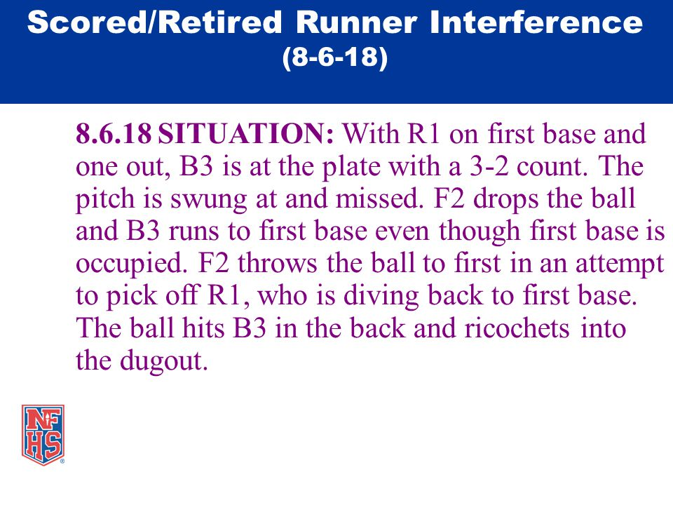 8.6.18 SITUATION: With R1 on first base and one out, B3 is at the plate with a 3-2 count.