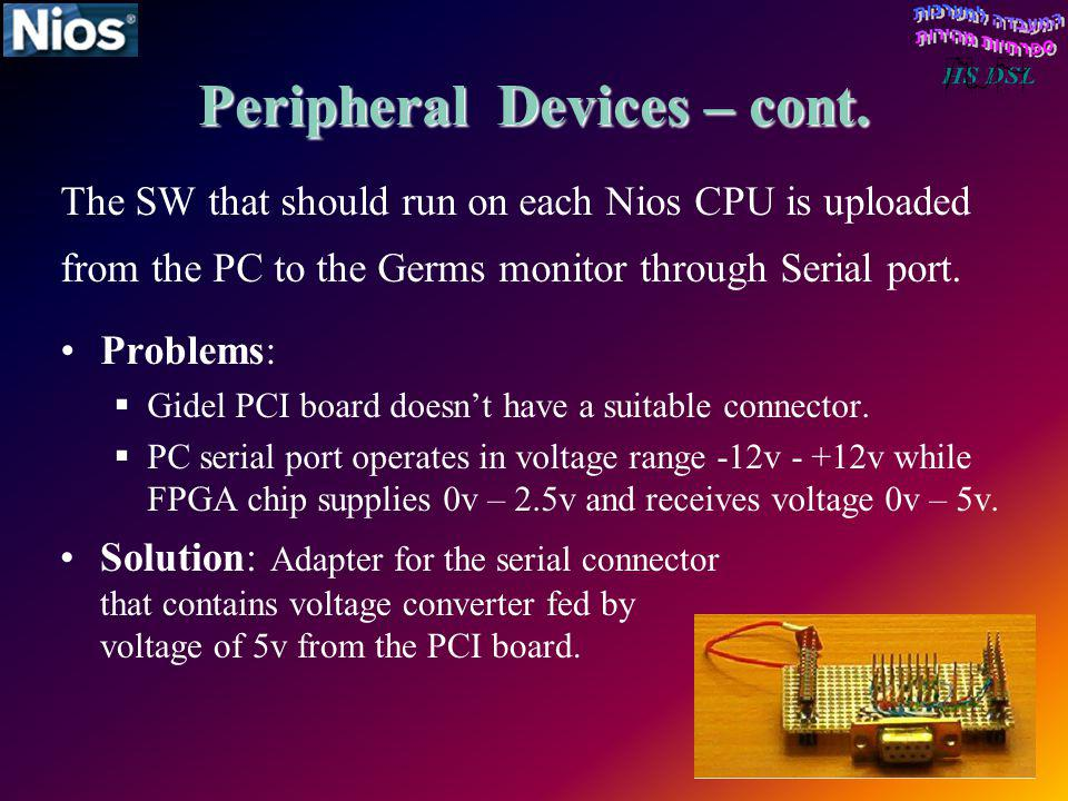 Peripheral Devices – cont. The SW that should run on each Nios CPU is uploaded from the PC to the Germs monitor through Serial port. Problems: Gidel P