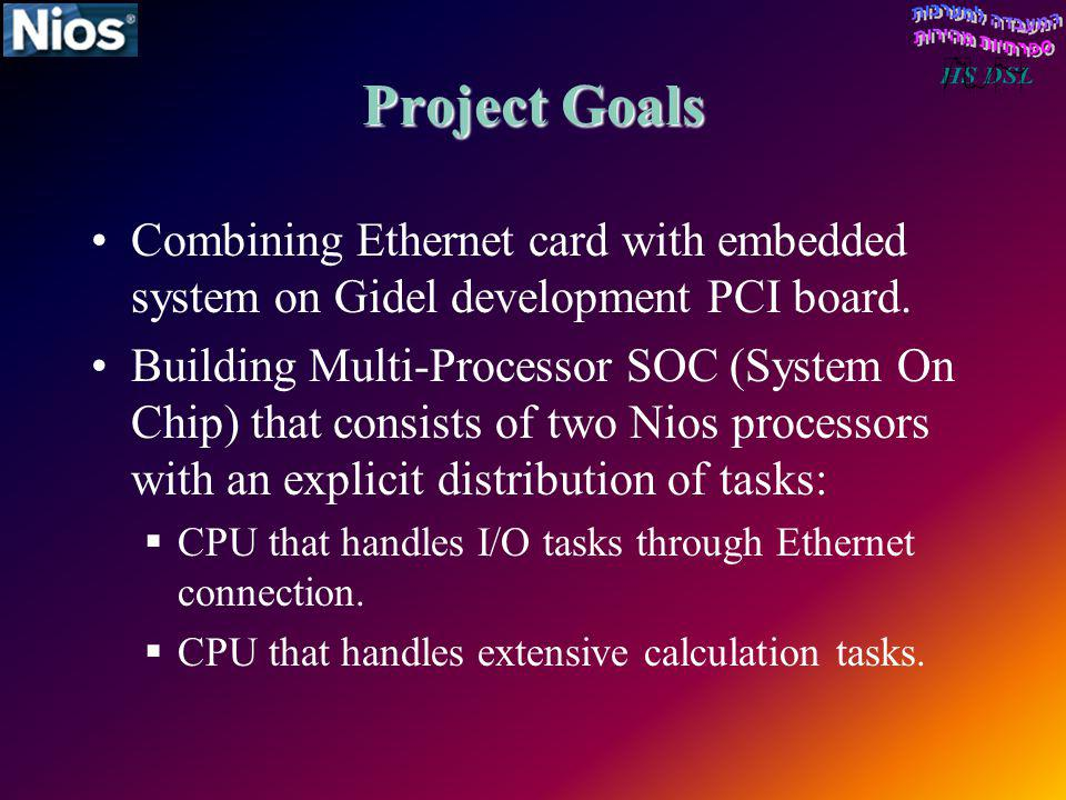 Project Goals Combining Ethernet card with embedded system on Gidel development PCI board. Building Multi-Processor SOC (System On Chip) that consists