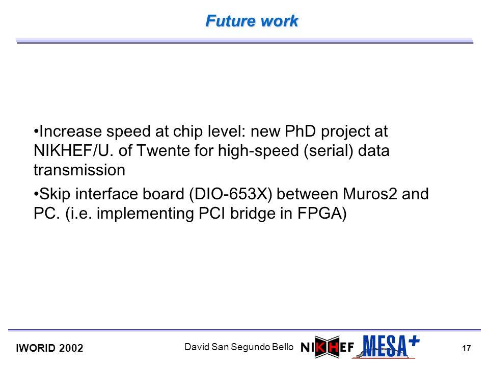 17 IWORID 2002 David San Segundo Bello Future work Increase speed at chip level: new PhD project at NIKHEF/U. of Twente for high-speed (serial) data t