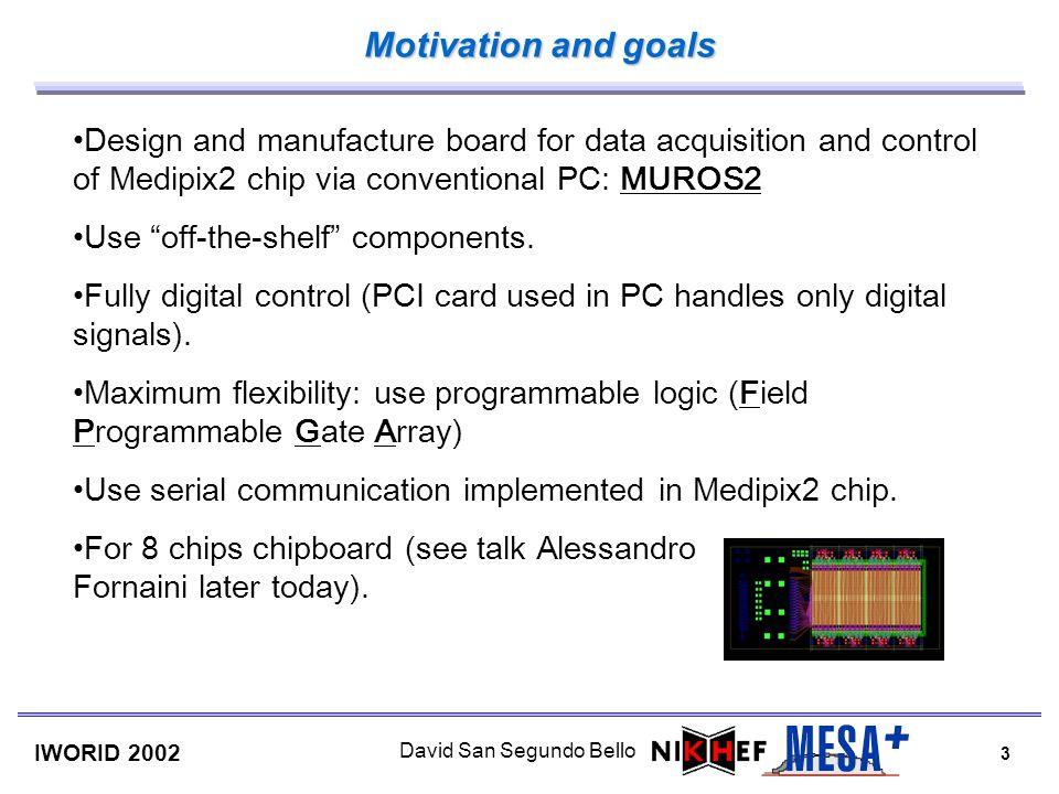 3 IWORID 2002 David San Segundo Bello Motivation and goals Design and manufacture board for data acquisition and control of Medipix2 chip via conventi