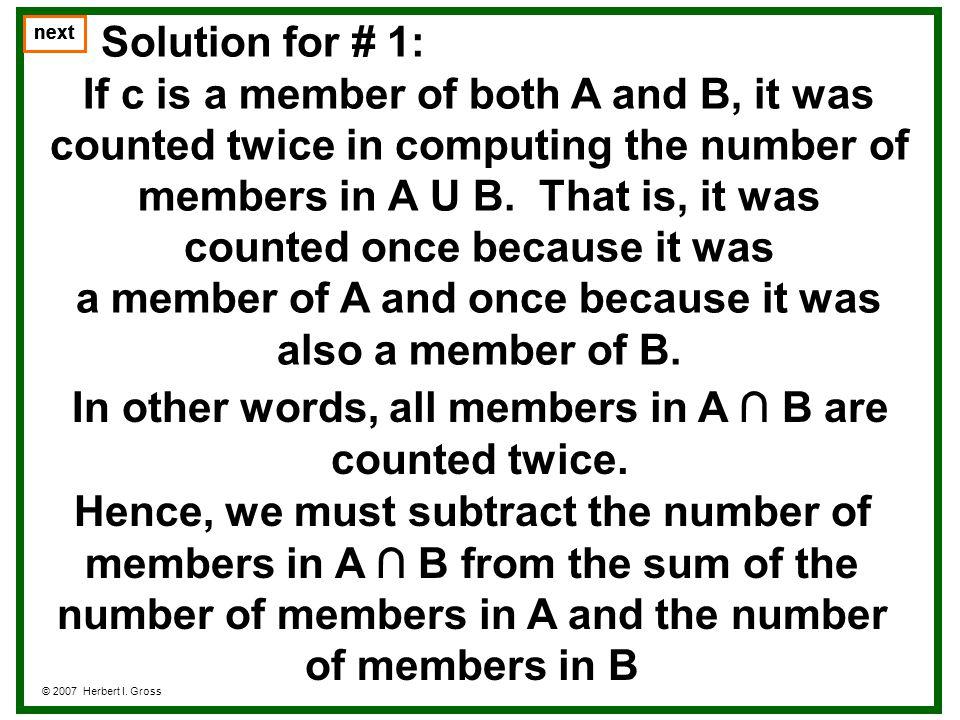 Problem #2b © 2007 Herbert I.Gross next Let A = {(x,y,z): x + y + z = 9}.