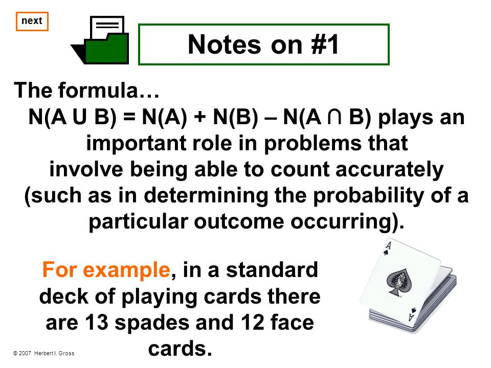 next Notes on #1 An in depth study of unions and intersections is included in the course known as Boolean Algebra.