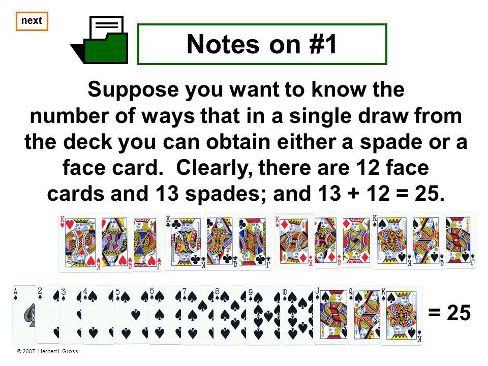 next Notes on #1 © 2007 Herbert I.