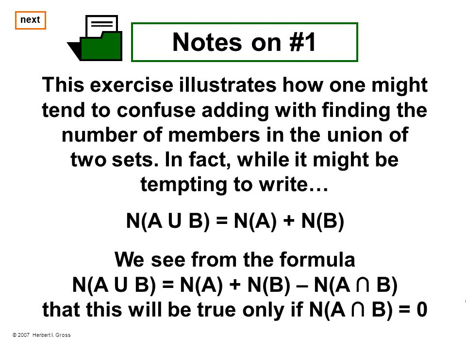 next Notes on #2a As defined above, the set A is described implicitly.