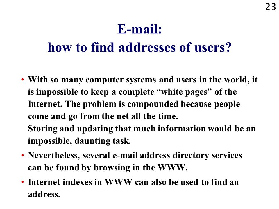 23 E-mail: how to find addresses of users.