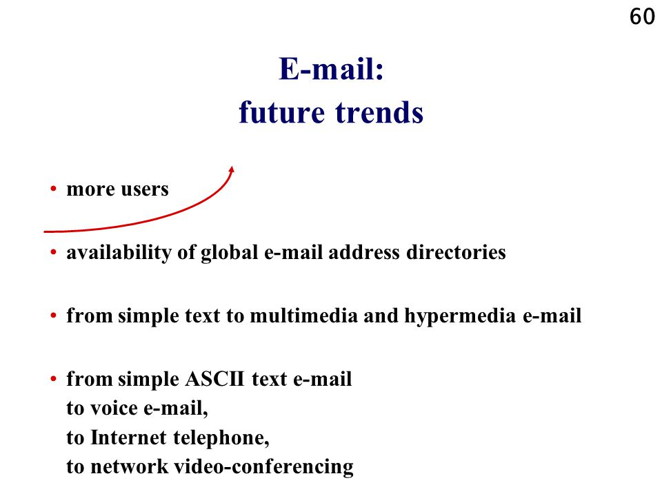 60 E-mail: future trends more users availability of global e-mail address directories from simple text to multimedia and hypermedia e-mail from simple ASCII text e-mail to voice e-mail, to Internet telephone, to network video-conferencing