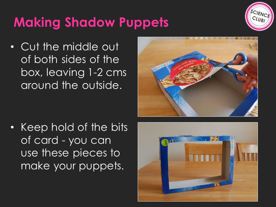 Cut the middle out of both sides of the box, leaving 1-2 cms around the outside.