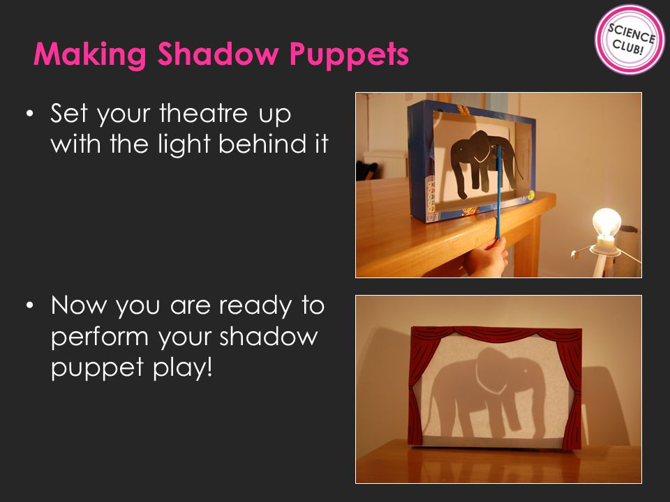 Set your theatre up with the light behind it Now you are ready to perform your shadow puppet play.