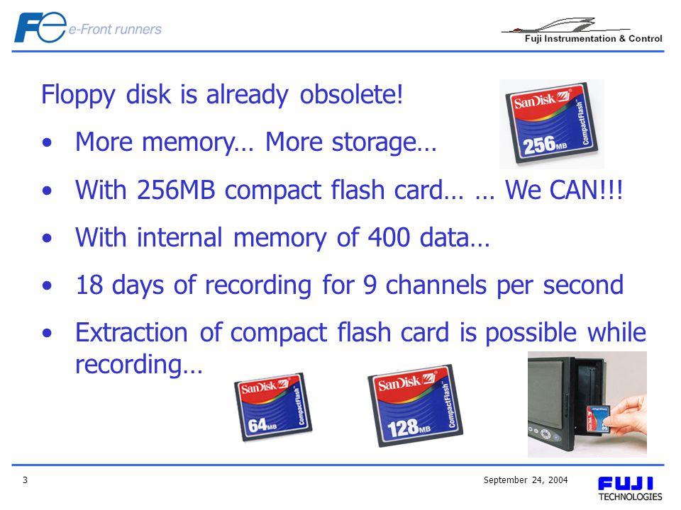 September 24, 20043 Floppy disk is already obsolete.