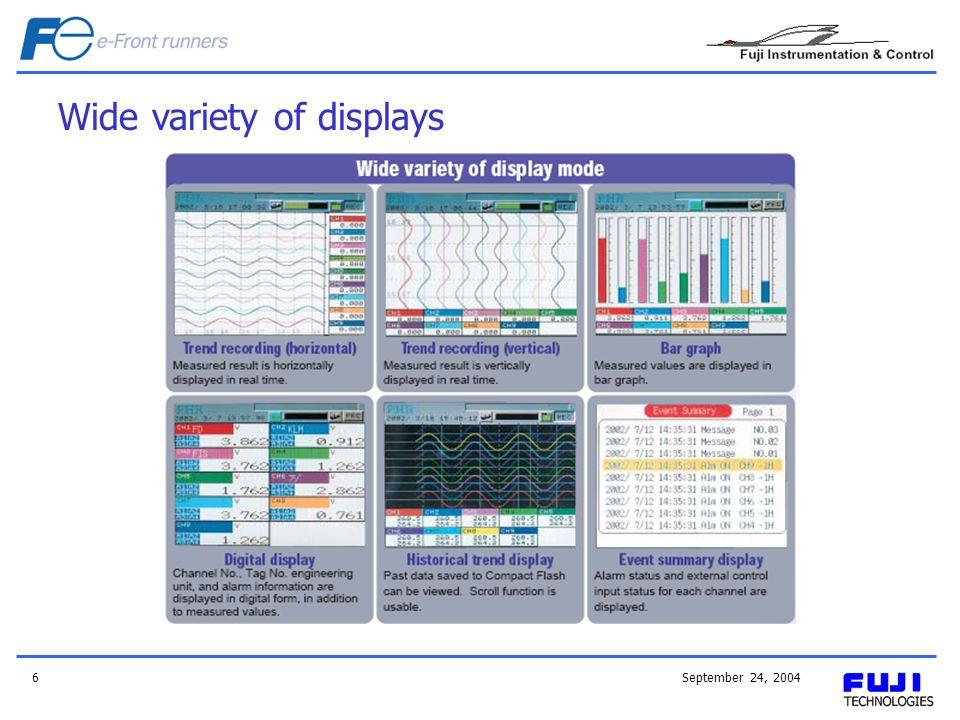 September 24, 20046 Wide variety of displays