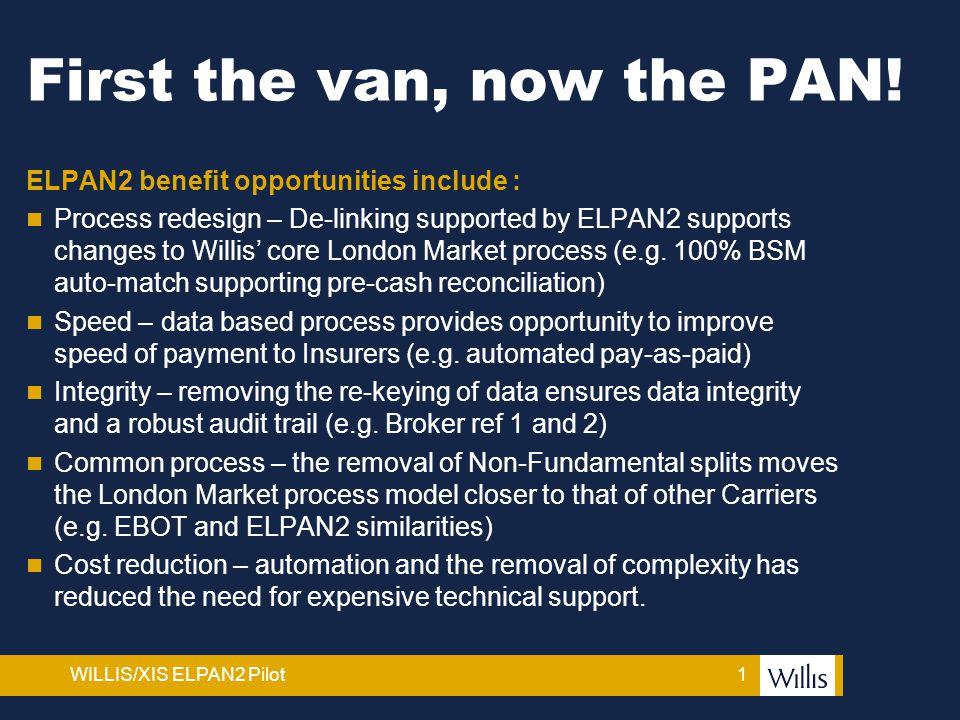 1WILLIS/XIS ELPAN2 Pilot First the van, now the PAN.