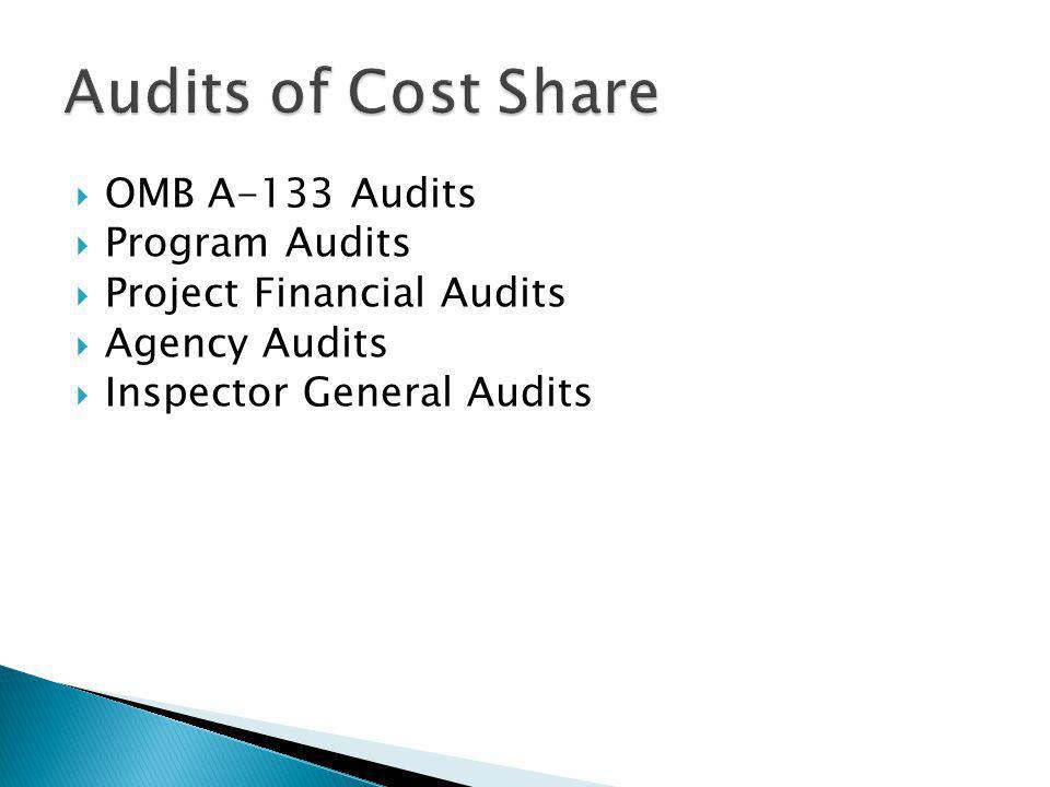 OMB A-133 Audits Program Audits Project Financial Audits Agency Audits Inspector General Audits