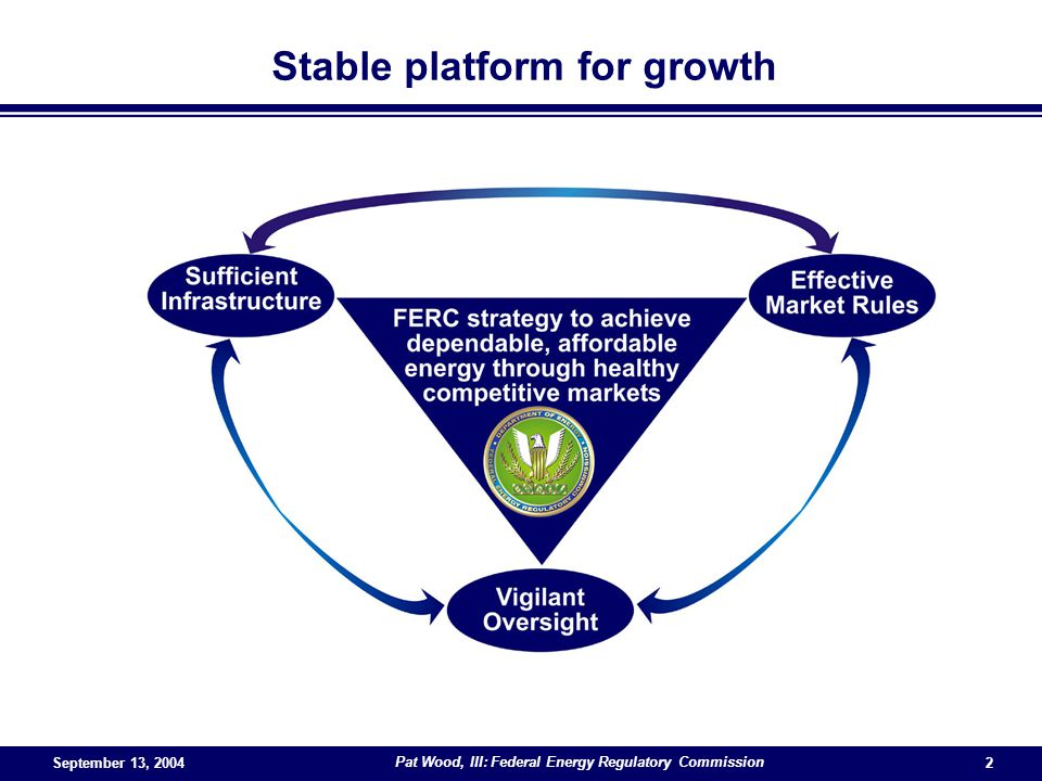 Pat Wood, III: Federal Energy Regulatory Commission 2 Stable platform for growth